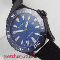 45 мм PLANCA синий циферблат вращающийся керамический ободок светящаяся Дата PVD люксовый бренд сапфировое стекло Miyota Autmatic движение Мужские час