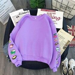Sweet Purple Yellow Sweatshirt Cute Cake Milk Food Printed Pullovers Autumn Winter Warm Thick Fleece Hoodie Women Preppy Outwear 1