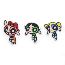 hot deal buy the powerpuff girls iron on patch clothing diy embroidered sewing applique sew on patches fabric apparel patchwork