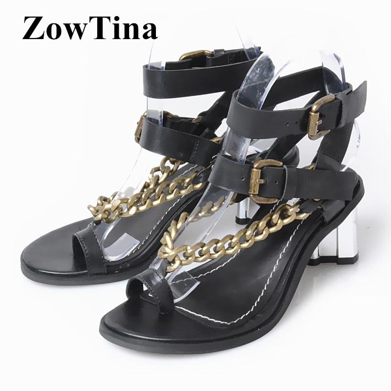 fb911698a220 Women Black Leather Sandals Gladiator Ankle Strap Party Summer Shoes Woman  Fashion Flip Flops Ladies Shoes