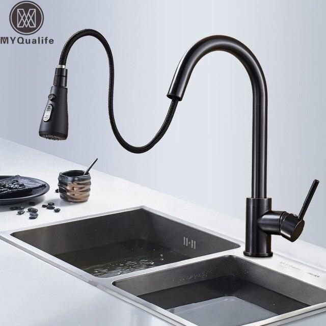 送料無料黒キッチンシンクの蛇口デッキはストリームスプレーキッチンミキサータップ浴室キッチンホットコールドタップ
