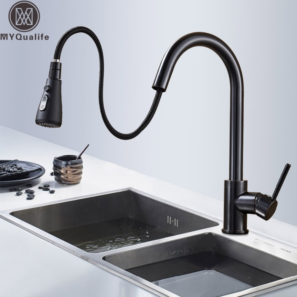 Black Pull Out Kitchen Sink Faucet Deck Mounted Stream Sprayer Kitchen Mixer Tap Single Handle Bathroom Kitchen Hot Cold Tap pull out sprayer kitchen faucet chrome deck mounted 360 degree luxury white hot and cold stream water mixer bathroom tap sink