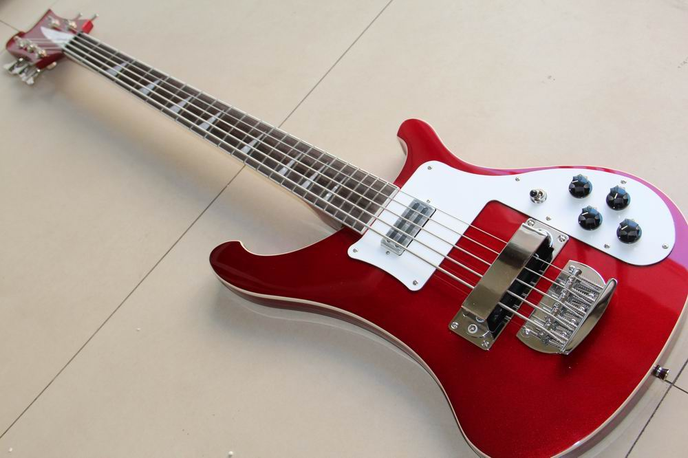 Wholesale New Arrival Rick... 5 string 4003 electric bass guitar In metal Wine (Red) Flash Red 130205 new arrival es 175 model jazz electric bass guitar 4 string bass hollow body es175 in blue 130109