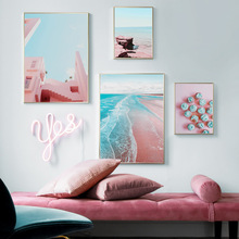 Pink Wall Coast Building Sea Cake Art Canvas Painting Nordic Posters And Prints Landscape Pictures For Living Room