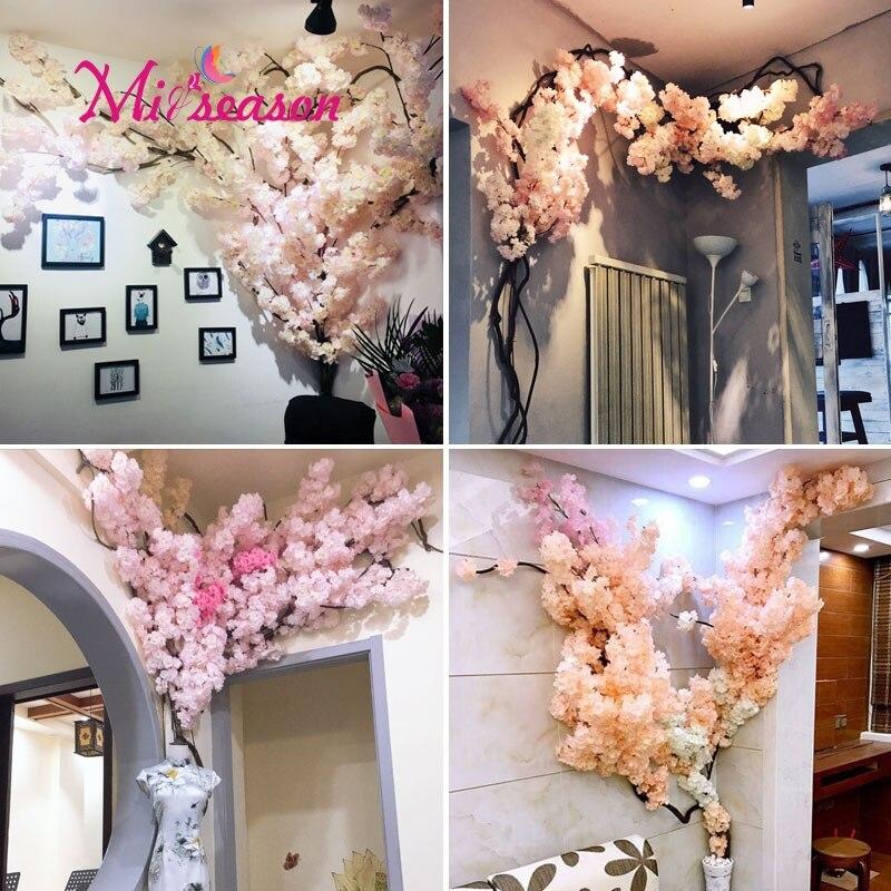 Новый Cherry цветет озеленение комплект искусственный большой крытого украшения для дома Свадебные гостиная стены цветочных растений декора