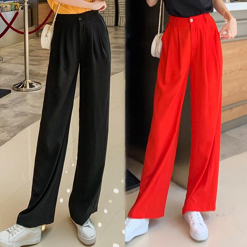 2019 été nouveauté femmes mode haut en mousseline de soie pantalon lâche Style glace soie Sraight loisirs Tousers