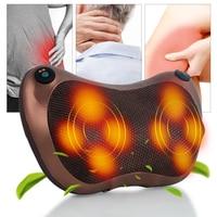 (110V 240V)Heat Massage Pillow Shiatsu Deep Kneading Massager Relax Neck Shoulder Pain Back Relief Rechargable