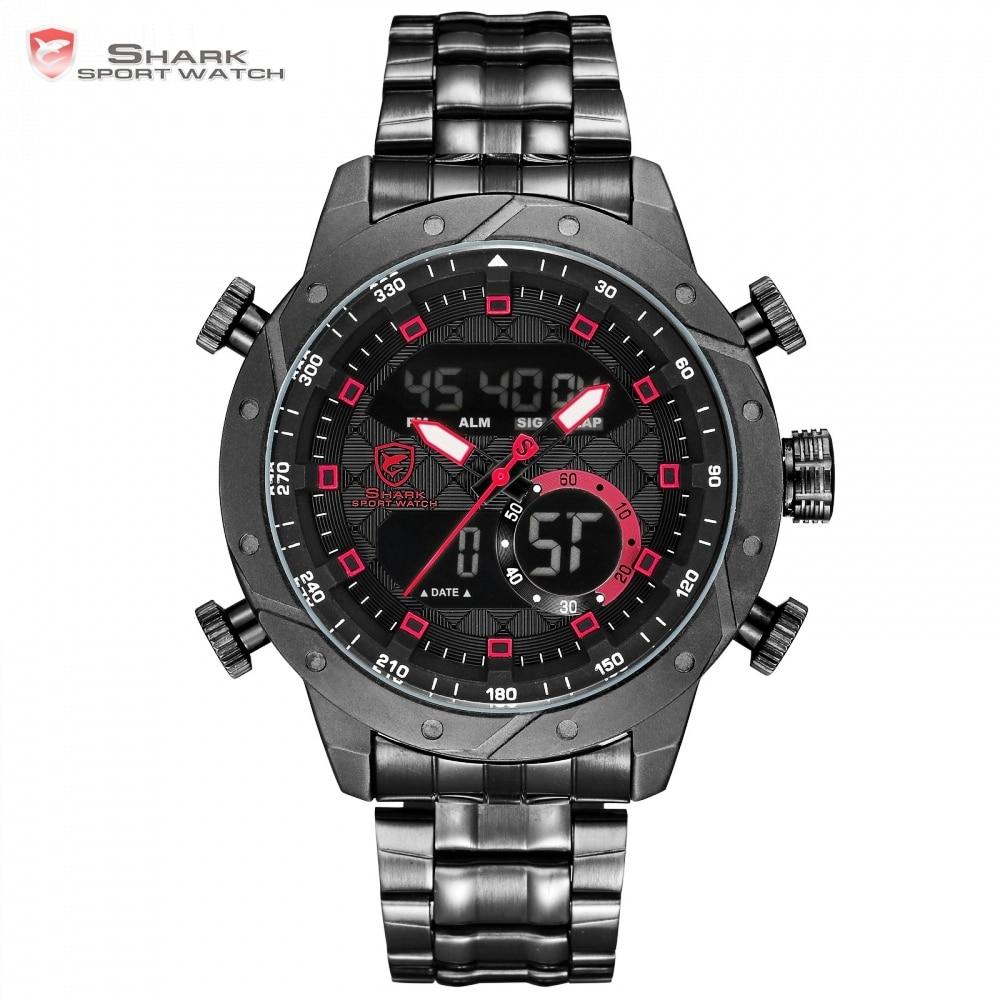 SHARK Mens Watches Top Brand Luxury Fashion Business Quartz Watch Men Sport Full Steel Watchband Waterproof Black Clock / SH592 top brand luxury shark sport new design