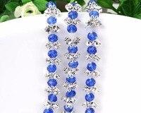 1 Yard Blauw Glas Kristallen & Steentjes Ketting Lint Trim Voor Bruidstaart Banding Naaien Tas Kleding Decoratie