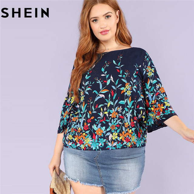 543df74a0bd8b7 SHEIN Floral Print Navy Plus Size Round Neck Casual Women Blouse 2018 New  Three Quarter Sleeve
