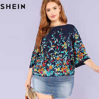 SHEIN Floral Print Navy Plus Size Round Neck Casual Women Blouse 2018 New Three Quarter Sleeve Botanical Print Rayon Blouses