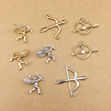 10pcs Cupid Arrow Love Shape Charms Earring DIY Material Gold Silver Tone Metal Pendants Hair Alloy Jewelry Accessories YZ117