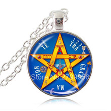 Esoteric Pentagram Pendant Necklace Pentacle Tetragrammaton Jewelry Name of God Blessing Jewellery Wiccan Pagan Sweater Necklace