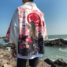 Loldeal Japanese Kimono Beach Cardigan Mens Summer Yukata Traditional Shirt