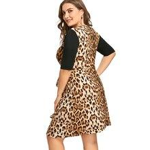 Plus Size 6XL 7XL Leopard Printed Keyhole Evening Party Dress