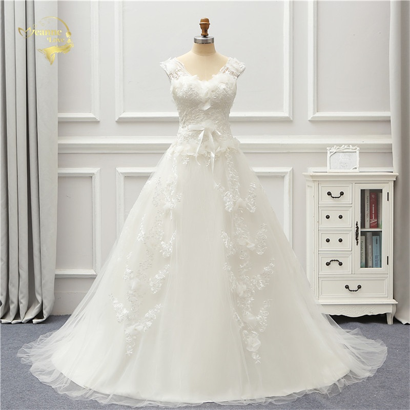 Jeanne Amour Tulle Robe De Mariage 2018 Dentelle Robe De Mariage UNE Ligne Col En V Robe De Noiva Brida Robes JLOV76000 robe de mariage