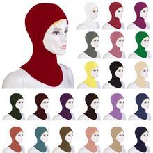 이슬람 소프트 스카프 모자 모자 뼈 보닛 목 커버 Hijab Amira 모자 여성 이슬람 닌자 라마단 커버기도 중동
