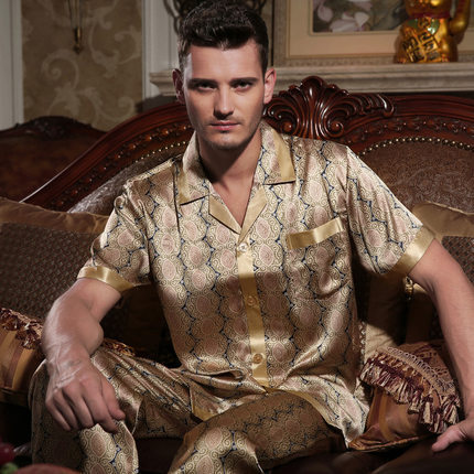 Male    summer  100 silk Two-piece suit Pajamas suit