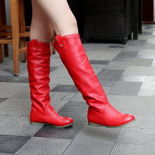 big size US 4-11 drop wholesale fashion style knee-high heel boots for women snow flat boots  HSY1-8Q