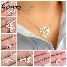 Silver Stainless Steel Necklace Women Angle Infinity Wave Moon Bird Chain Necklaces Pendants Vinatge Best Friend Necklace Female(Hong Kong,China)