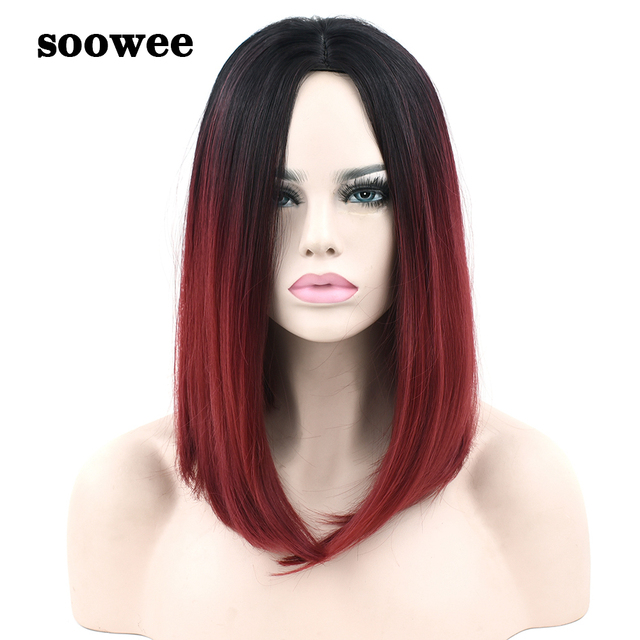 Soowee Synthetic Hair Black to Burgundy Ombre Hair Bob Wig Short Straight  Hair Cosplay Wigs Hairpieces Costumes Accessories d65f498cdbfd