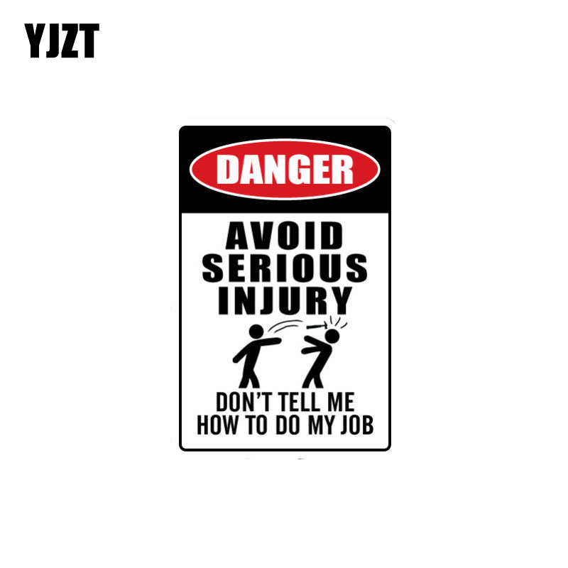 YJZT 7.4CM*11.4CM AVOID SERIOUS INJURY Danger Decal PVC Car Stikcer 12-0687