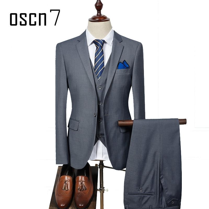 OSCN7 3 Pcs Solid Suit Men Slim Fit Business Wedding Suits for Men ...