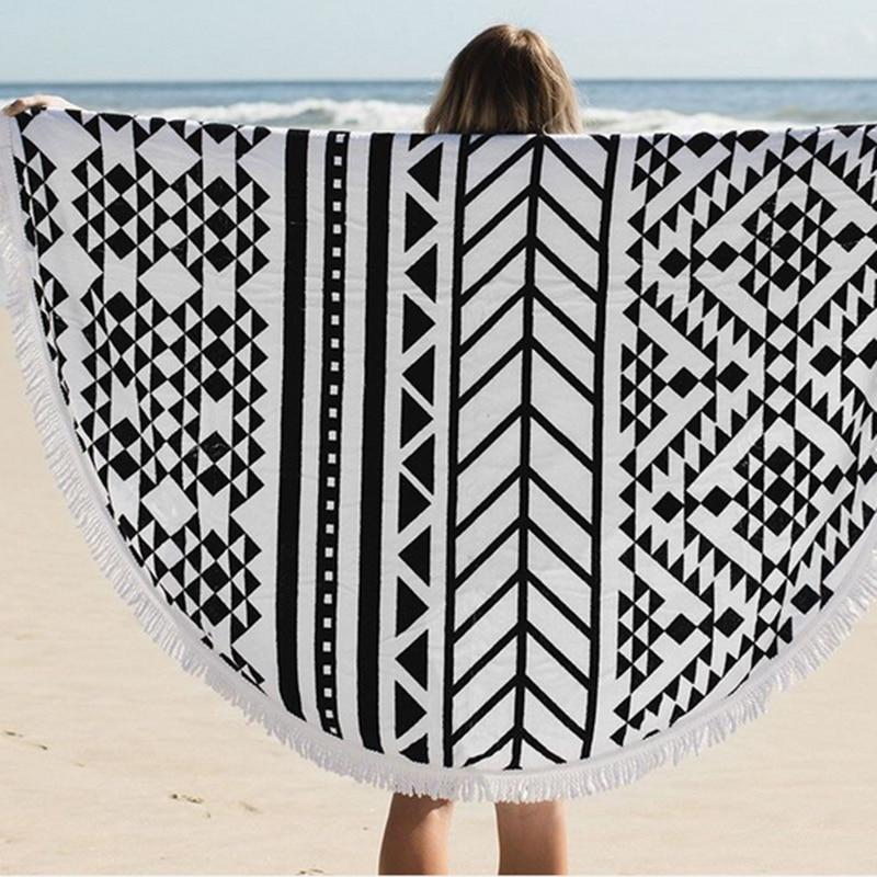 Printed Beach Towel Round Tassels Cotton Large Black Serviette Ronde Plage Absorbent Microfiber Bath BeachTowel Summer QQC317 ...