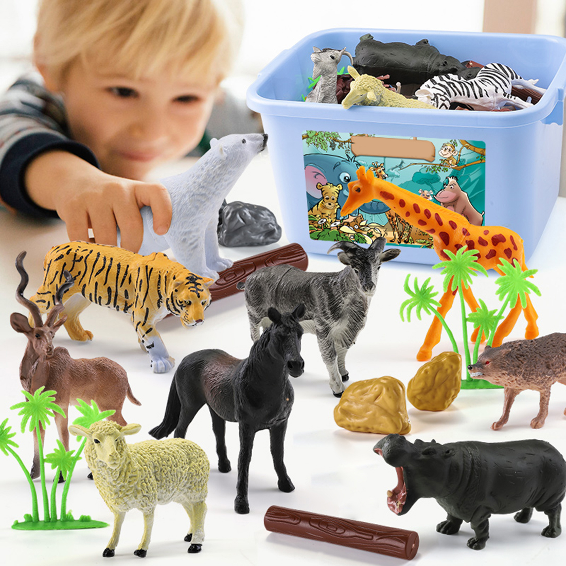44Pcs Wild Animals Toy Simulation Animals Model Children Early Learning Cognitive Toy Playing Learning Set for Age More Than 344Pcs Wild Animals Toy Simulation Animals Model Children Early Learning Cognitive Toy Playing Learning Set for Age More Than 3