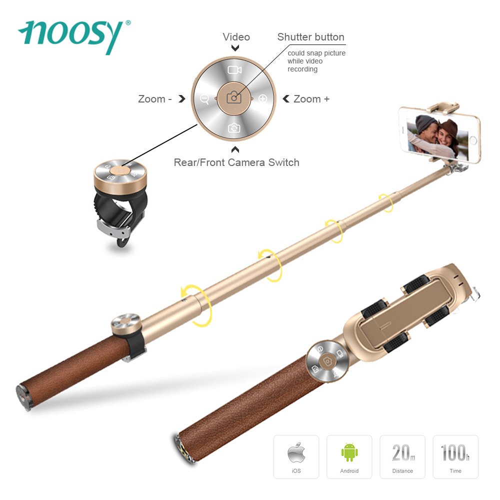 Noosy Luxury Extendable Bluetooth Selfie Stick Leather Folding Monopod Palo Selfies Tripod for iPhone Samsung Pau De Selfie for iphone xs max xr xs x selfie stick for iphone x 8 7 6 6s plus 5 5s wired selfie stick extendable monopod for lightning