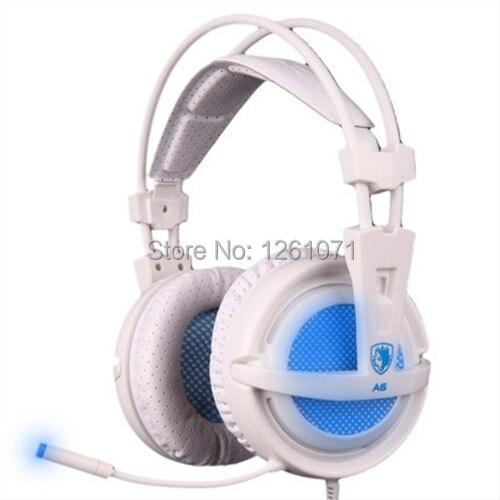 ФОТО Original New Arrival Gaming Headphone Headset Sades A6 Comfort Wearing Ultra-light USB 7.1 Surround Sound for DOTA WOW LOL