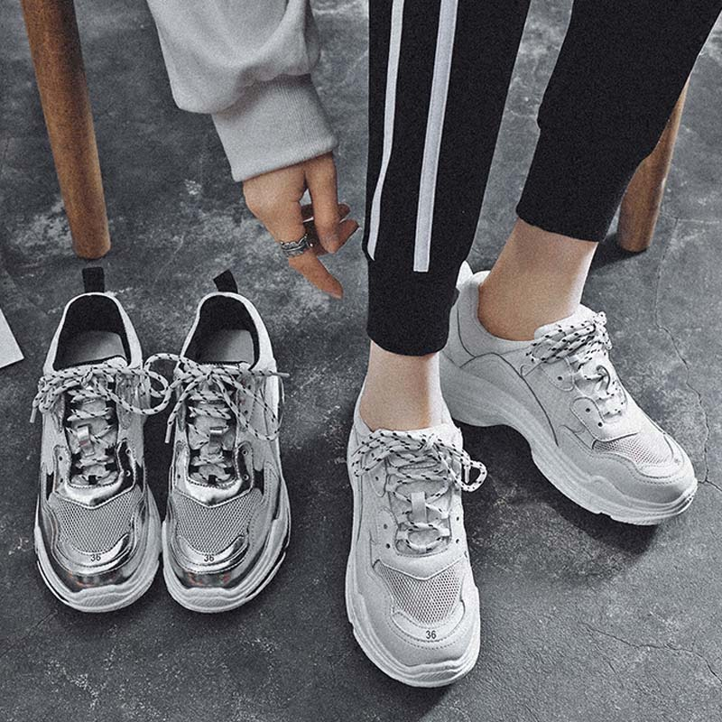 Zapatos Blancos Transpirable Moda Zapatillas Marca 2018 2 Primavera Casual Señoras Mujer 1 En Plata 6IpwATq