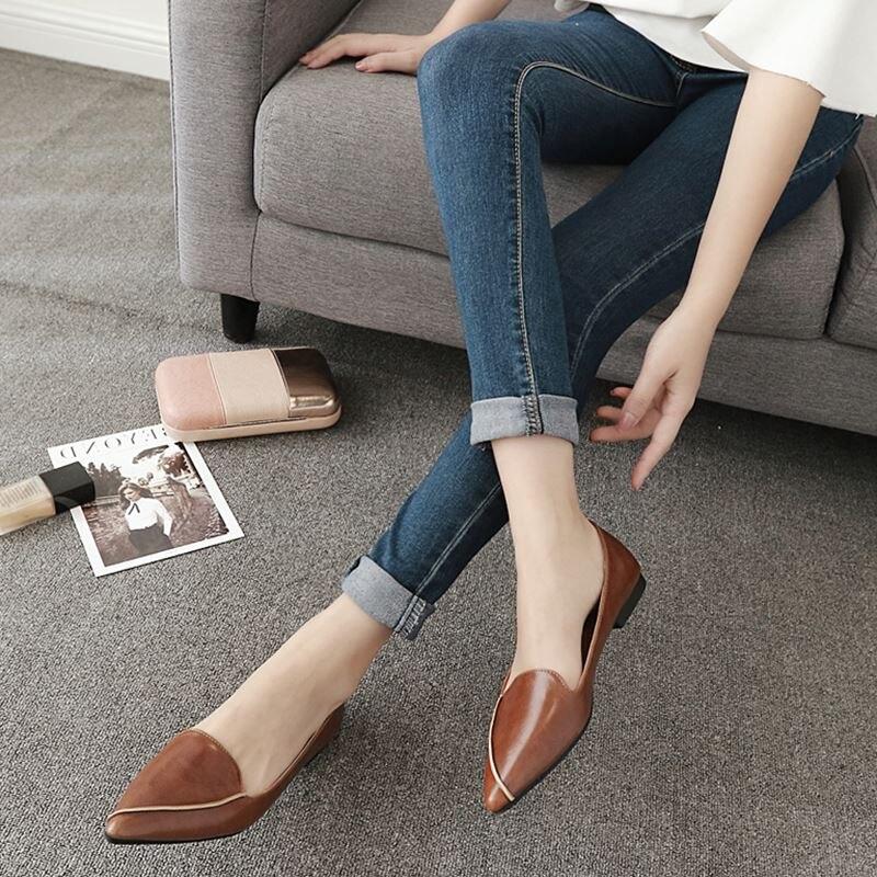 Automne Luxe Mocassins Cuir Chaussures 4 Marque En Femmes De Vintage Qualité Appartements Pointu Femme 3 2 1 Bout Haute Plates CfIzq