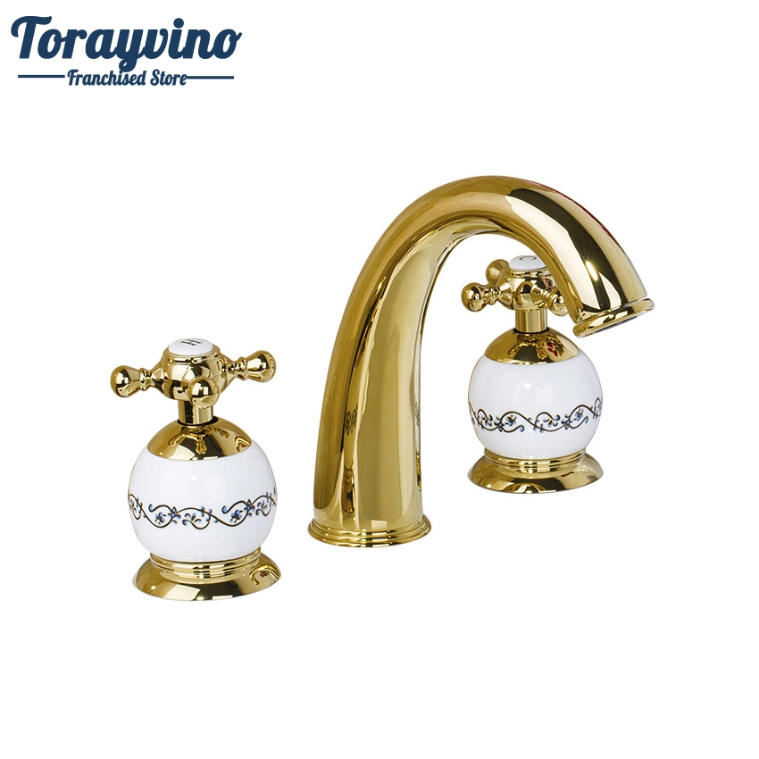 Torayvino Ceramic and Golden Basin Faucet Dual Handle Deck Mounted Hot Cold Water Mixer Distinguished  Basin Faucet 98014 pastoralism and agriculture pennar basin india