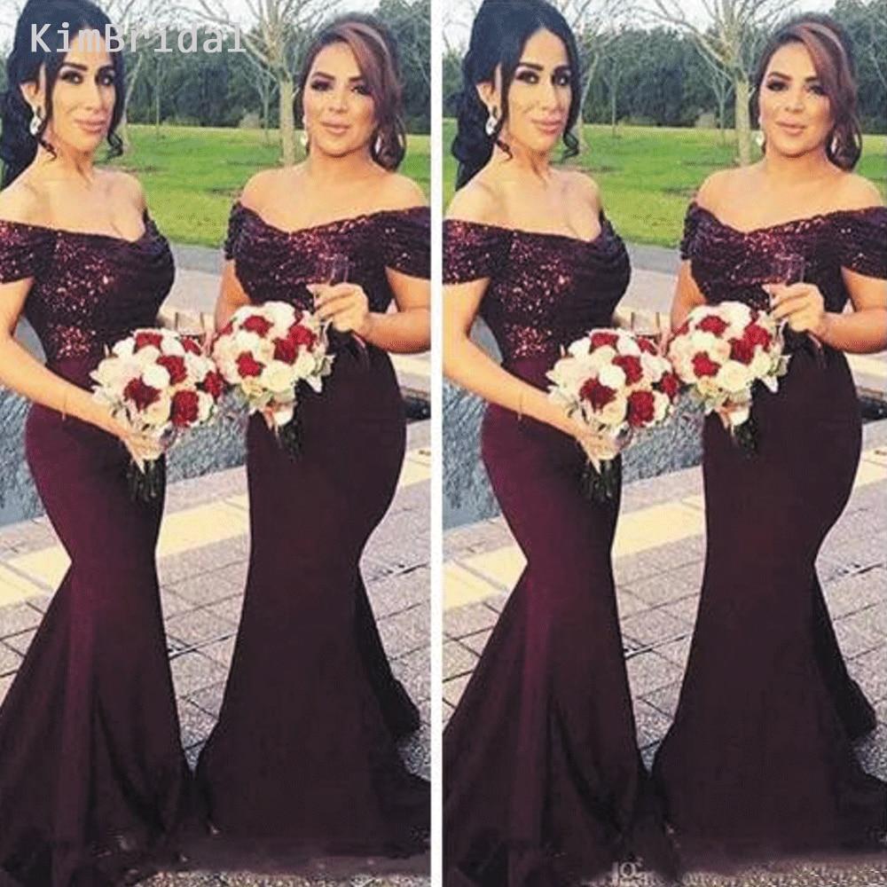 Deep Purple Bridesmaid Dresses Long 2019 Mermaid V Neck Grape Sequin Wedding Party Dresses Robe De Soiree