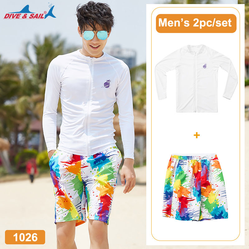 2c8805bf5 Hombres UPF 50 + camisa de manga larga + troncos UV protección solar  compresión Base capa