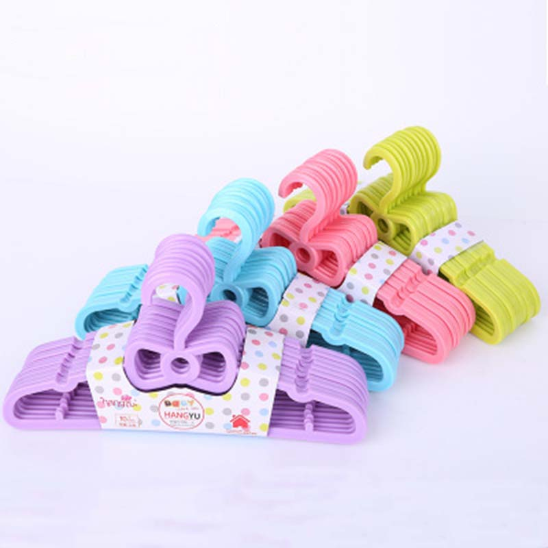 10Pcs/Lot Garment Coat Clothes Hangers Baby Small Kids Child Children Suitable Hook Nursery Plastic Hanging Towel Drying Rack