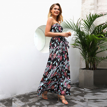 ELSVIOS 2018 Strapless Flower Print Boho Long Dress Women Sleeveless Off Shoulder Female Dress Summer Beach Maxi Dress With Belt