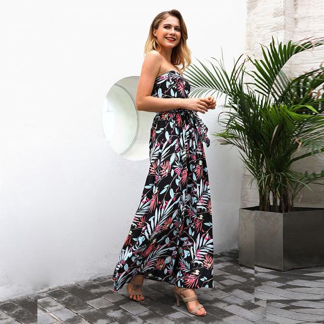 ELSVIOS 2018 Strapless Flower Print Boho Long Dress Women Sleeveless Off Shoulder Female Dress Summer Beach Maxi Dress With Belt