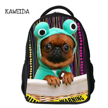 Cute Pet Pug Printed Teen Student School Backpack Bag Dog Cat Animal Orthopedic Schoolbag for Boys Girls Custom Name Bagpack Big недорого