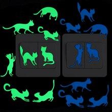 8 gatos interruptor luminoso pegatina adorable divertido dibujo animado Animal resplandor pared pegatina niños habitación dormitorio cama armario DIY decoración calcomanía