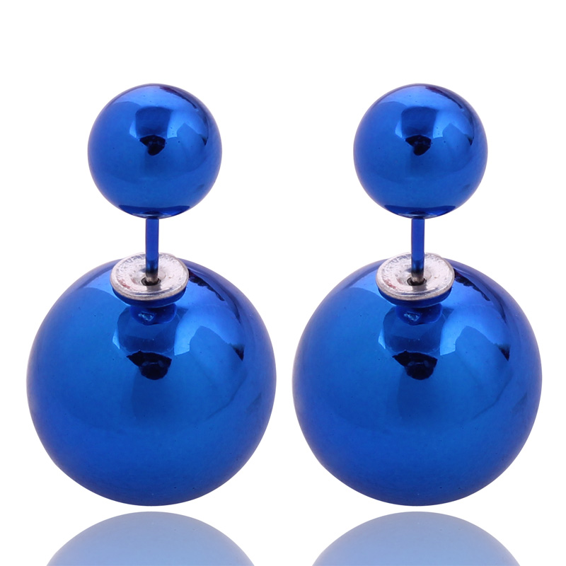 11 Colors Classic Cheapest Double Side Earrings Multi Colors Big Acrylic Trendy Double Ball PearlStud Earrings For Women Jewelry