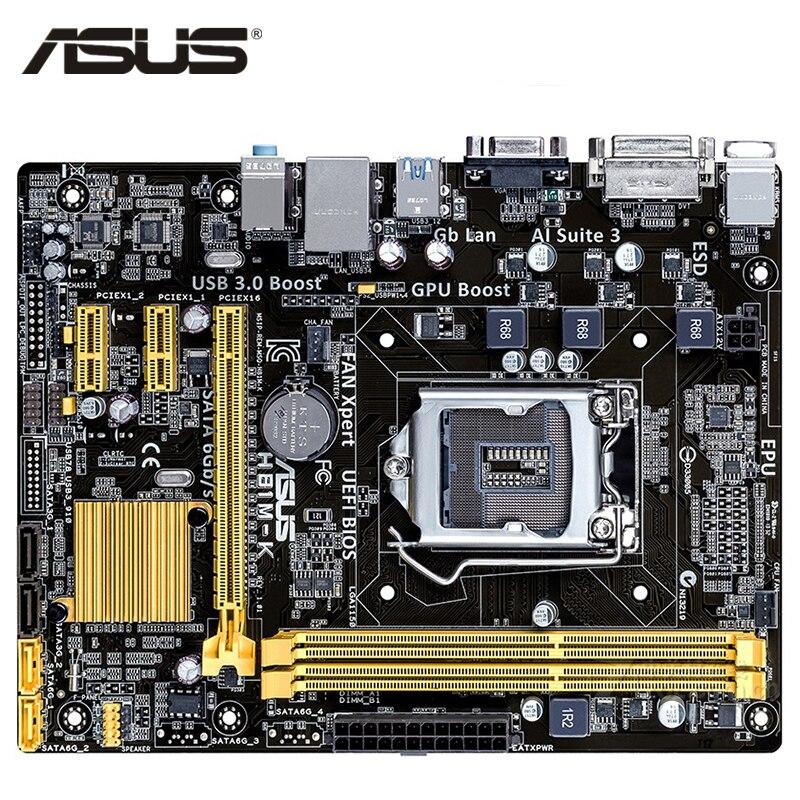 LGA 1150 ASUS H81M-K carte mère Micro ATX H81M-K Systemboard H81M DDR3 pour Intel H81 16 GB carte mère de bureau USB 3.0 H81MK utilisé