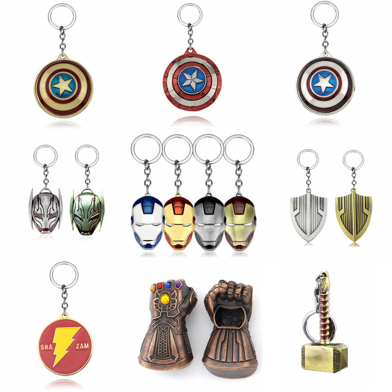 Marvel Keychain Avengers Loki Thor Hammer Pendant Captain America Key Chain Thanos Infinity Glove Gauntlet Weapons Keyring Movie