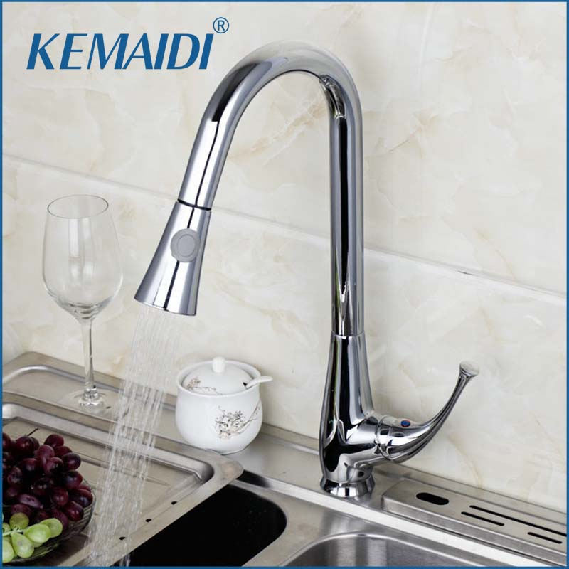 KEMAIDI Kitchen Faucets Two Function Mixer Chrome Finished Solid Brass Water Power Swivel Spout Faucets Pull Out Vessel Sink Tap antique brass swivel spout dual cross handles kitchen