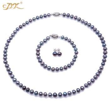 JYX Silber 925 Schmuck Set Pfau Blau Runde süßwasser Perle Halskette Sterling Silber Ohrring Armband Set (7-7,5 mm)