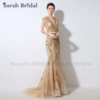 Sheer Backless Evening Dresses 100% REAL IMAGE Mermaid Champagne Beading Sequins Sexy Prom Gown Formal Dress Custom made LX053