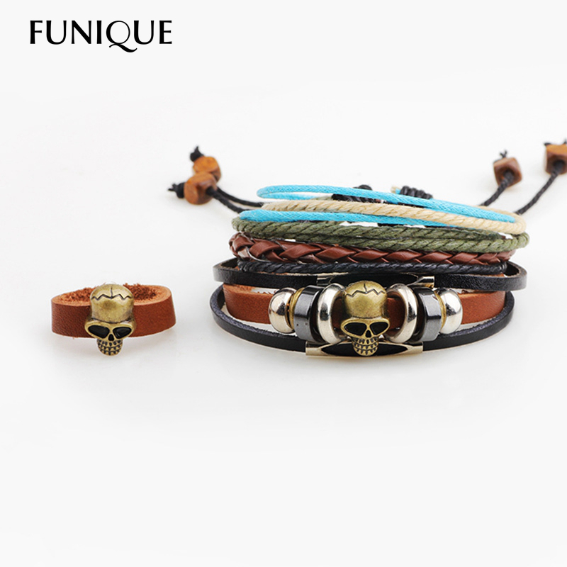 FUNIQUE Vintage Style Punk Men Skull Charm Bracelet Multilayer Weaving Braided Leather Bracelet & Bangles for Men Adjustable