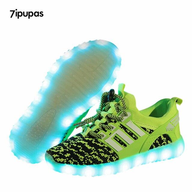 Us17 Mädchenamp; Neue Atmungs Leuchtende Led Schuh Kids Trend Leucht Ipupas 7 Sneaker Segeltuchschuhe Kinder Turnschuhe 057 Jungen Mit Usb Grün In QCxoBdeWr