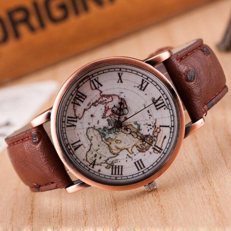 b89a55f4795e Vintage retro cuero café cuarzo mujeres relojes deporte analógico reloj  palabra Mapas reloj Mujer en Relojes de mujer de Relojes en AliExpress.com